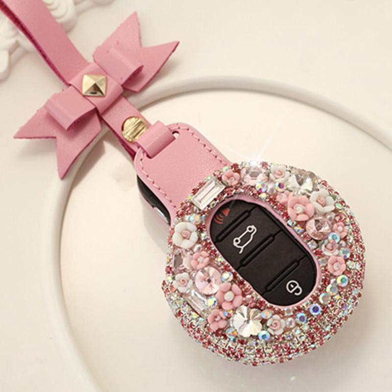 Fashion Beautiful Women Smart Remote Car Key Fob Cover ABS Crystals Case  Holder For Mini Cooper F54 F55 F56 Car Decoration Styling