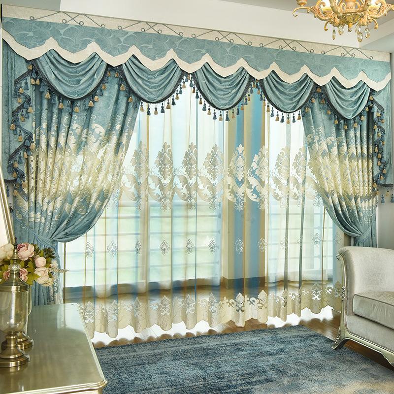 Rideau de chambre à coucher de style européen salon rideau noble bleu vert  chenille broderie rideaux personnalisés finis spéciaux de tissu