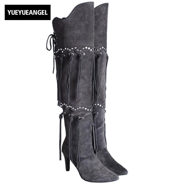 c10aa1d0432 Womens Genuine Leather Long Boots European Style Pointed Toe Side Zipper  High Heels Rivet Fringe Over The Knee Boots Black Gray