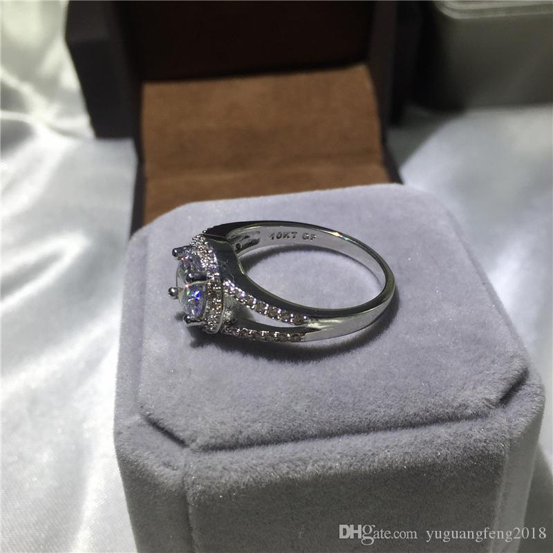 Kadın Moda Takı 10kt Taç yüzükler 3ct 5A Diamonique Cz Nişan düğün band yüzük kadınlar için Hediye