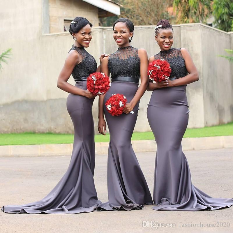 2018 African Mermaid Bridesmaids Dresses Jewel Neck Lace Applique Beaded  Sleeeveless Sweep Train Country Black Girl Long Wedding Guest Gowns African  ... b15a701421b2
