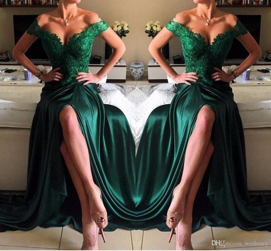 32248fc201bb8 Dark Green Sexy Evening Dress A Line Chiffon Off The Shoulder Floor Length  High Side Split Lace Elegant Long Prom Dresses Formal Dresses Evening  Dresses ...