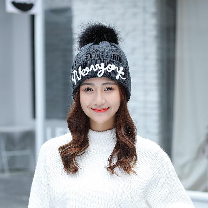 New Ladies Pure Black Big Real Raccoon Fur Pom Pom Wool Hat Personalized  Ear Protection Winter Warm Knit Embroidered 3D Letters Mens Hats Straw Hat  From ... 627f363b9810