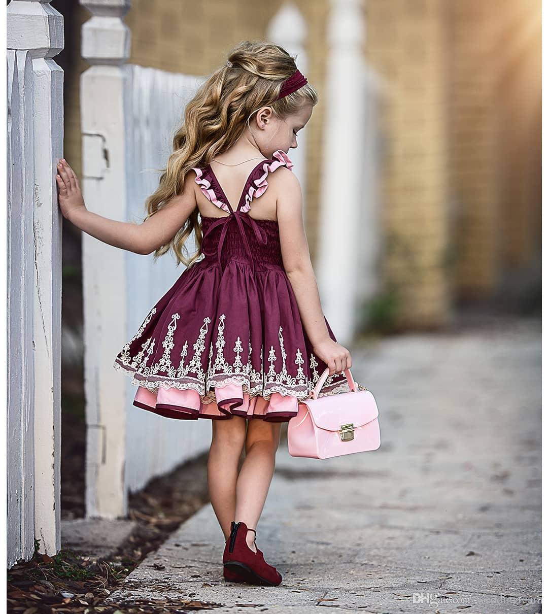 بورجوندي الرباط appliqued زهرة فتاة فساتين لحفلات الزفاف ألف خط طفل مهرجان أثواب الحرير ساحة الرقبة الركبة طول الأولى بالتواصل اللباس