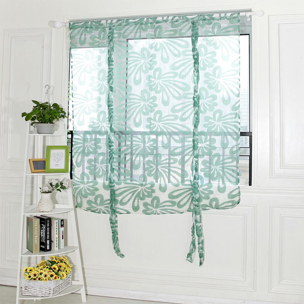 Kitchen Short Curtains Sling Cut Flowers Door Window Curtain Drape ...