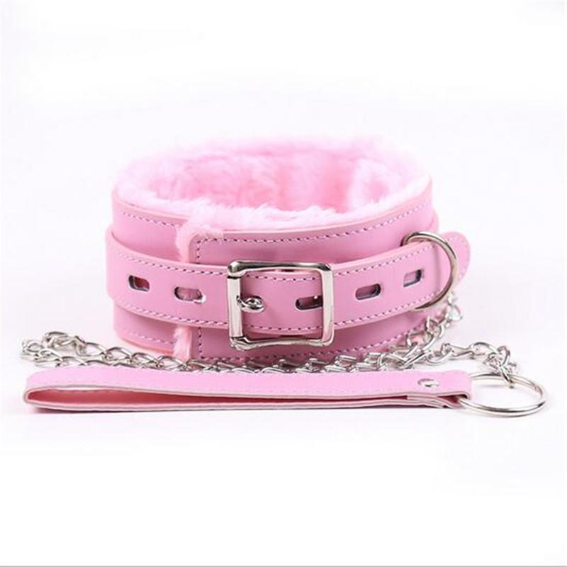 Adult Games Pink Leather Soft Fluff Neck Collar Flirt Erotic Toys Bondage Sex Role-play BDSM Sex Products Sex Toys For Couples Y18100703