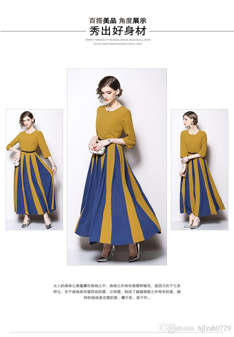 New women's 2018 autumn and winter women's explosions skirt new Slim large swing long dress stitching zipper long sleeve A word skirt