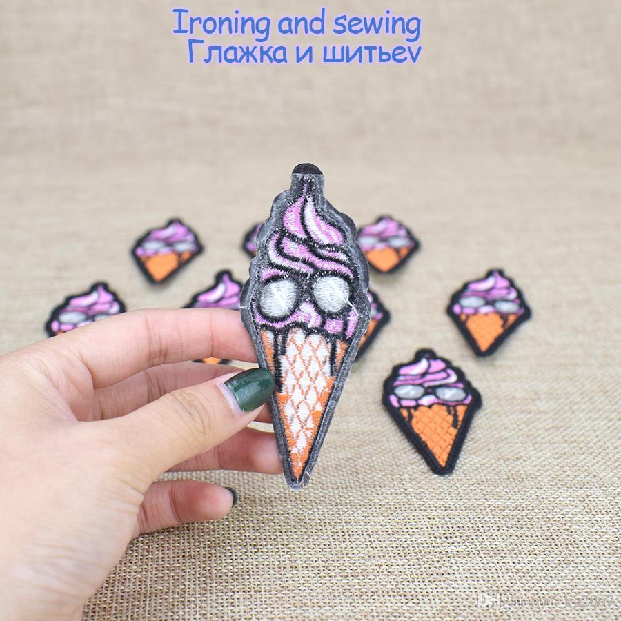 Engraçado Patches De Gelado para Sacos de Roupas de Ferro em Apliques de Transferência de Patch para Calças de Brim Camisola DIY Costurar em Remendo Bordado para Crianças