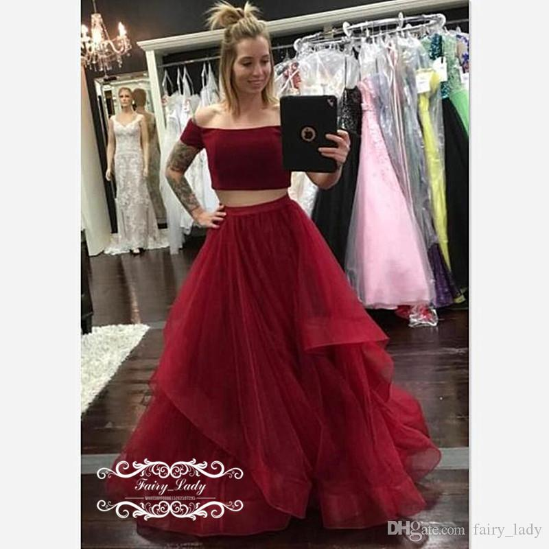 3eba12272fa52 Sexy Two Piece Prom Dresses For Women Burgundy Tulle 2018 Boat Neck A Line  Long Crop Top Dress Formal Evening Gowns Cheap Blue Prom Dresses Chiffon  Prom ...