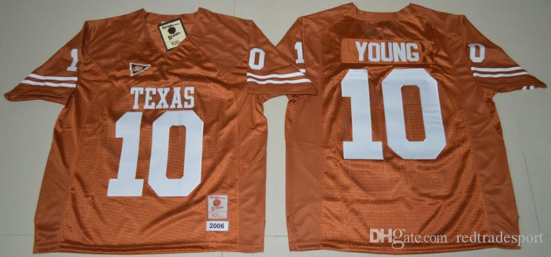 buy popular 998af 6a925 Mens Retro 2006 Texas Longhorns Vince Young College Football Jerseys Cheap  Retro #10 Vince Young Retro Orange University Football Shirts