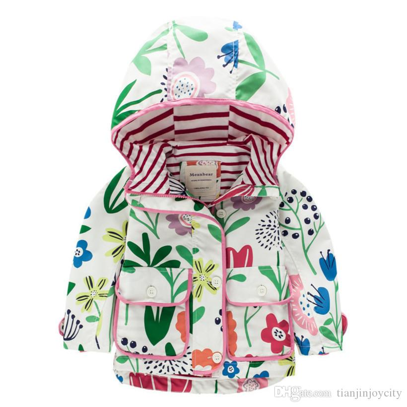 e81b3164bfee Flowers Windbreaker For Girls Jacket 2018 Spring Autumn Girls Trench ...