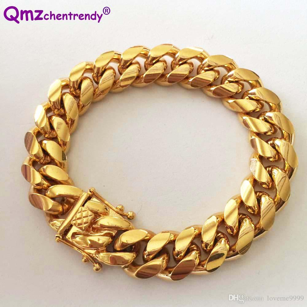 High Quality Stainless Steel Curb Cuban Chain Dragon Clasp Bracelets Men Women Fashion Gold Silver Bangles 8mm/10/12/14mm 23cm