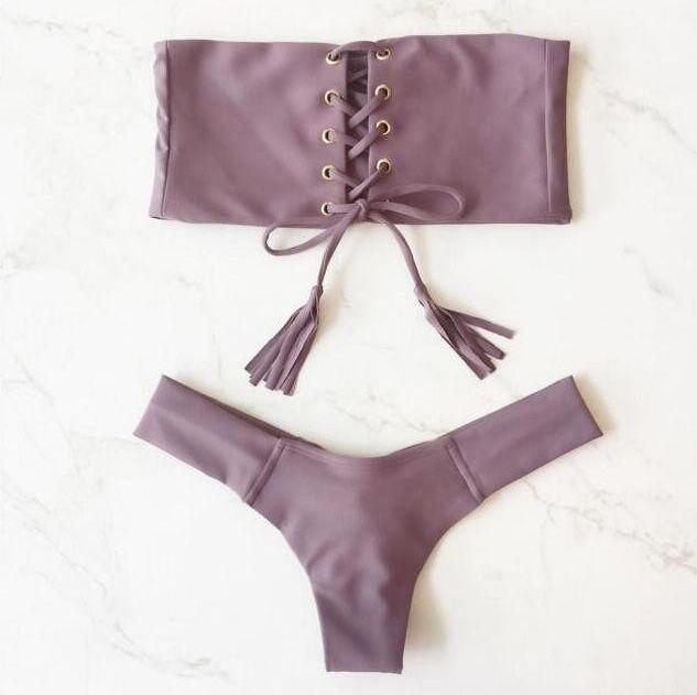 Costumi da bagno donna senza spalline Costumi da bagno donna Costumi da bagno fasciatura femminile Bikini brasiliano Set costume da bagno due pezzi Summer Beachwear