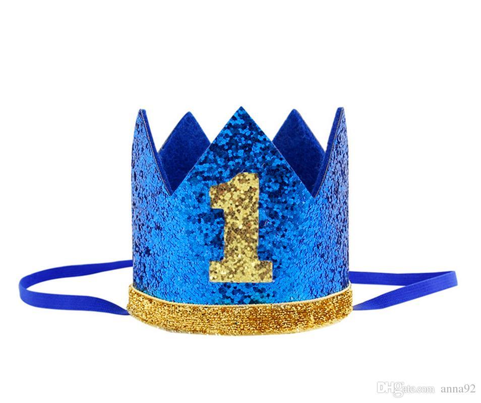 Compre Niño Azul Plata Primer Cumpleaños Sombrero Chica Oro Rosa Priness  Corona Número 1º 2 3 Años Partido Sombrero Glitter Cumpleaños Diadema Envío  Gratis ... e3308147073