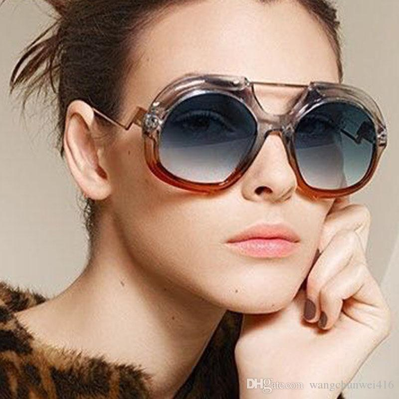 a3db2719300 Fashion Square Sunglasses Women Wide Leg Brand Designer Vintage Sun Glasses  Female Rivet Shades Big Frame Style Diamond Glasses Heart Shaped Sunglasses  ...