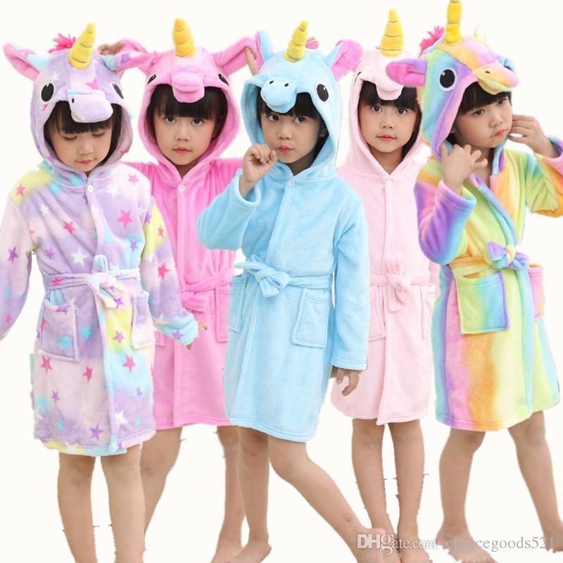 Bathrobe Girls Pajamas Children Baby Bath Robe Rainbow Unicorn Pattern  Hoodies Robes Kids Sleepwear Kids Animal Cartoon Robes Kids Pajamas Kids  Flannel ... 81103bc68