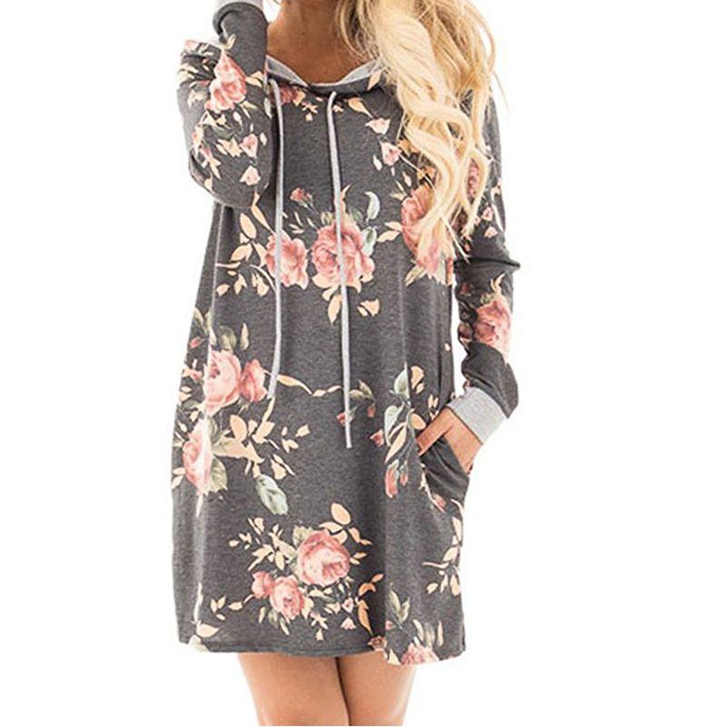 New 2019 Autumn Winter Hoodies Dress Women Autumn Floral Print Dresses  Hoody Long Sleeve Pockets Hooded Femme Robe GV892 Cotton Dresses Sexy  Cocktail ... a1b05ab70d07