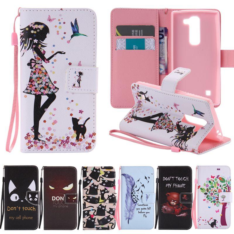 the best attitude 2e981 a8be9 Flip TPU Case For LG Spirit Case Cover For LG Spirit 4G Lte H422 H440 H440N  H420 C70 Funda Cartoon Wallet Flip Leather Phone Bag