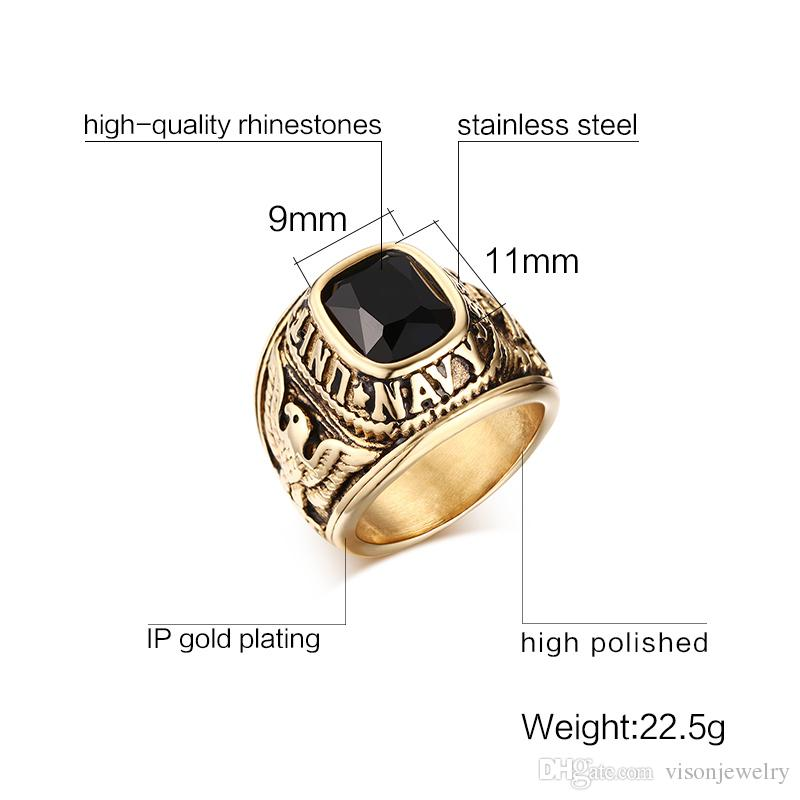 Stainless Steel United States Rings with Stone Gold Vintage Casting Mens Ring Antique Finish