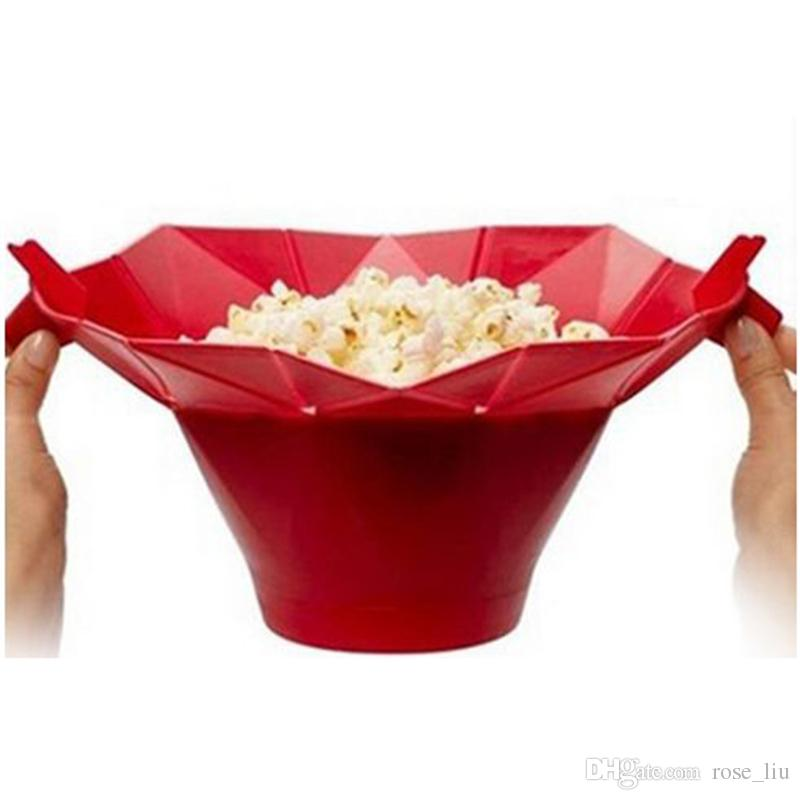 Silicone popcorn bucket Popcorn maker storage container Foldable microwave pop corn box bucket puffed rice food bowl kitchen accessories B