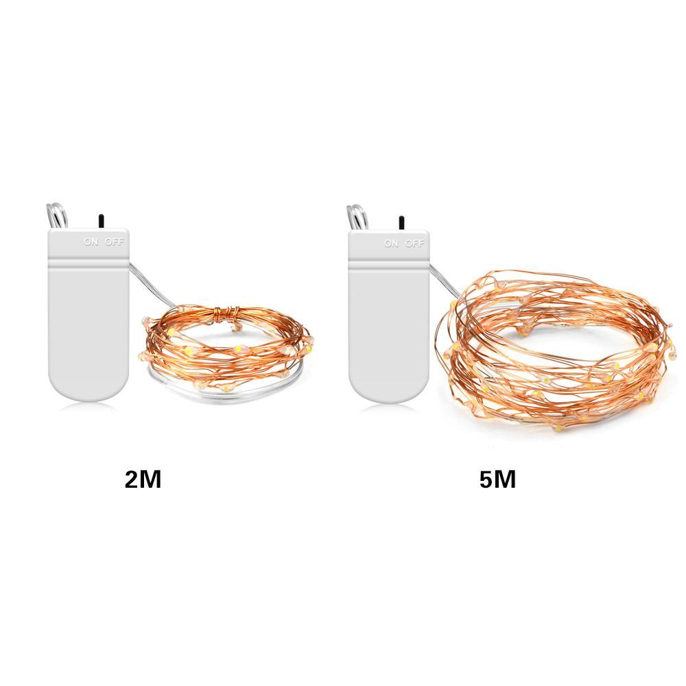 Feriado Led Luzes Da Corda De Fadas Micro 20/50 LEDs 2 M 5 M Fio de Cobre Bateria Alimentado Por Bateria Festa de Casamento Decoração de Natal