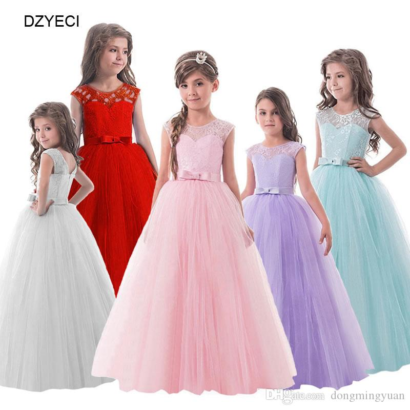 b5ac357ad195 2019 Fashion Teenager Girl Bridesmaid Maxi Dresses Carnaval Costumes Kid  Sleeveless Floral Bow Prom Wedding Dress Children Ceremony Pageant Frock  From ...