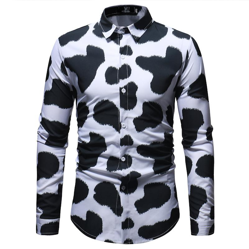 ef68ae70eb 2019 AIOPESON Autumn Fashion Cow Pattern Printing Men S Shirt Slim Fit  Casual Men S Shirts High Quality Long Sleeve Male Social Shirt From  Manxinxin