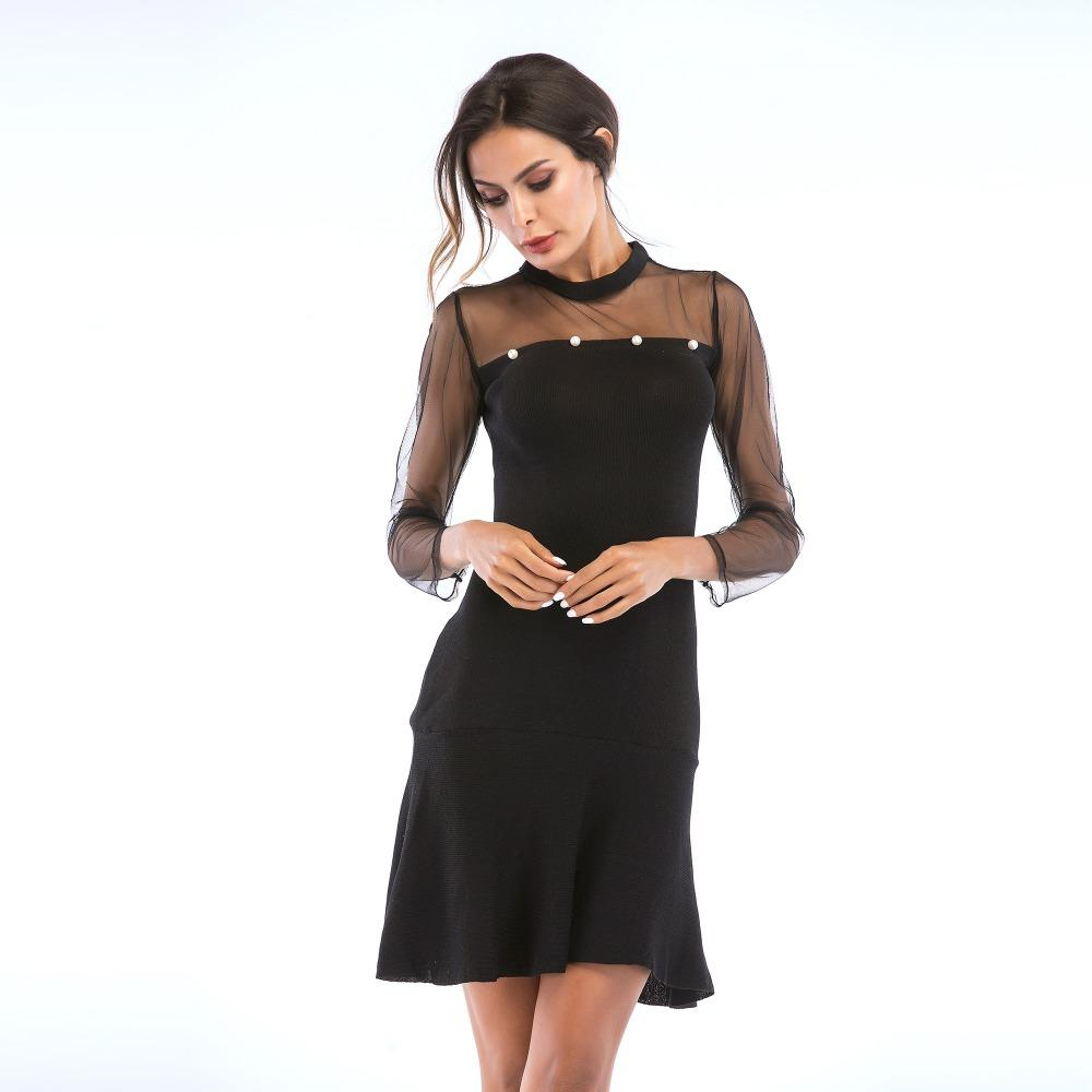 2520089ba28113 Women Hollow Out Net Yarn Long Sleeve Pearl Bead Elastic Knitted Dress  Elegant Female Bodycon Skinny Patchwork One Piece Dresses Cheap Evening  Dresses Cheap ...