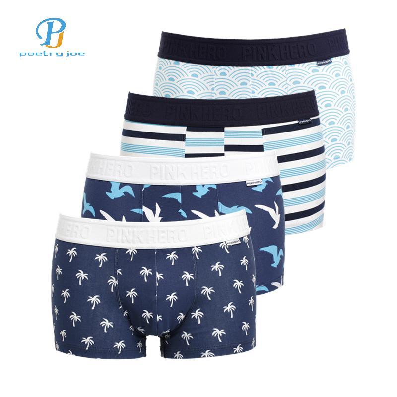702ec81aab PINK HEROES   Men Underwear Boxers Ocean Wind Print Cotton Men Boxer  Underwear Sexy Striped Brand Mens Shorts Panties UK 2019 From Cutee