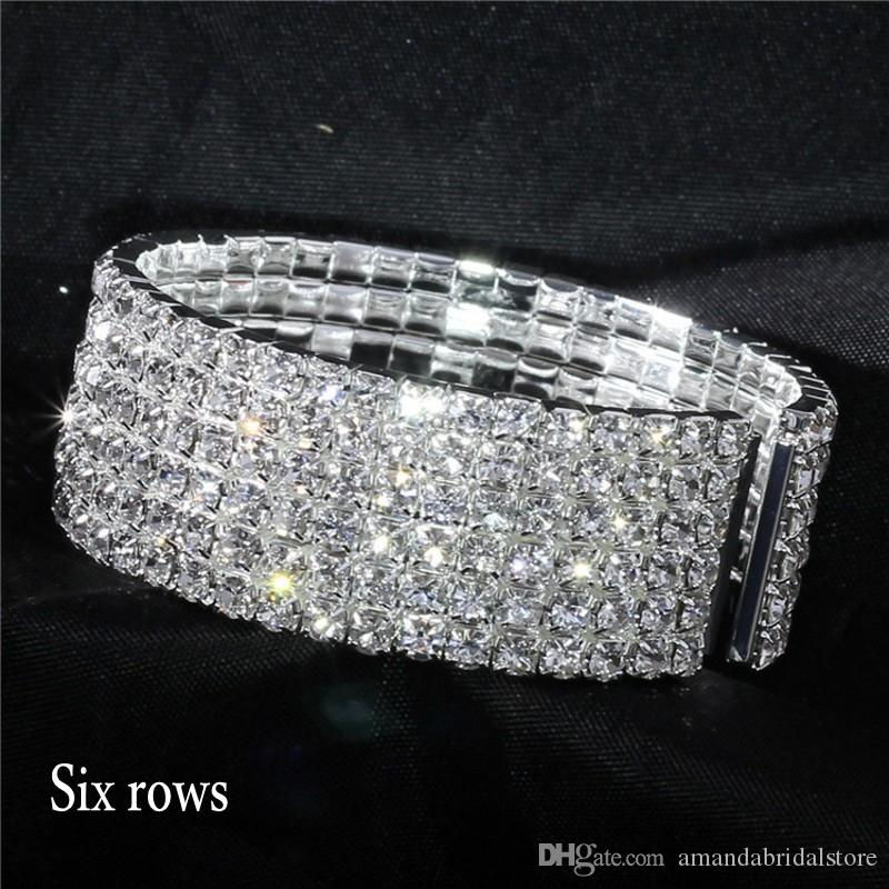 Amandabridal One To Ten Rows Cheap Silver Rhinestone Stretch Bangle Women Prom Evening Wedding Party Bridal Jewelry Bracelet Accessories