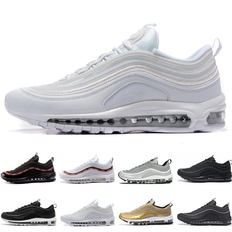 Zapatos nuevos 97 baratos QS Triple blanco negro Zapatos corrientes para hombres OG Metallic Gold Silver Bullet PRM Hombres entrenador Mujer deportes