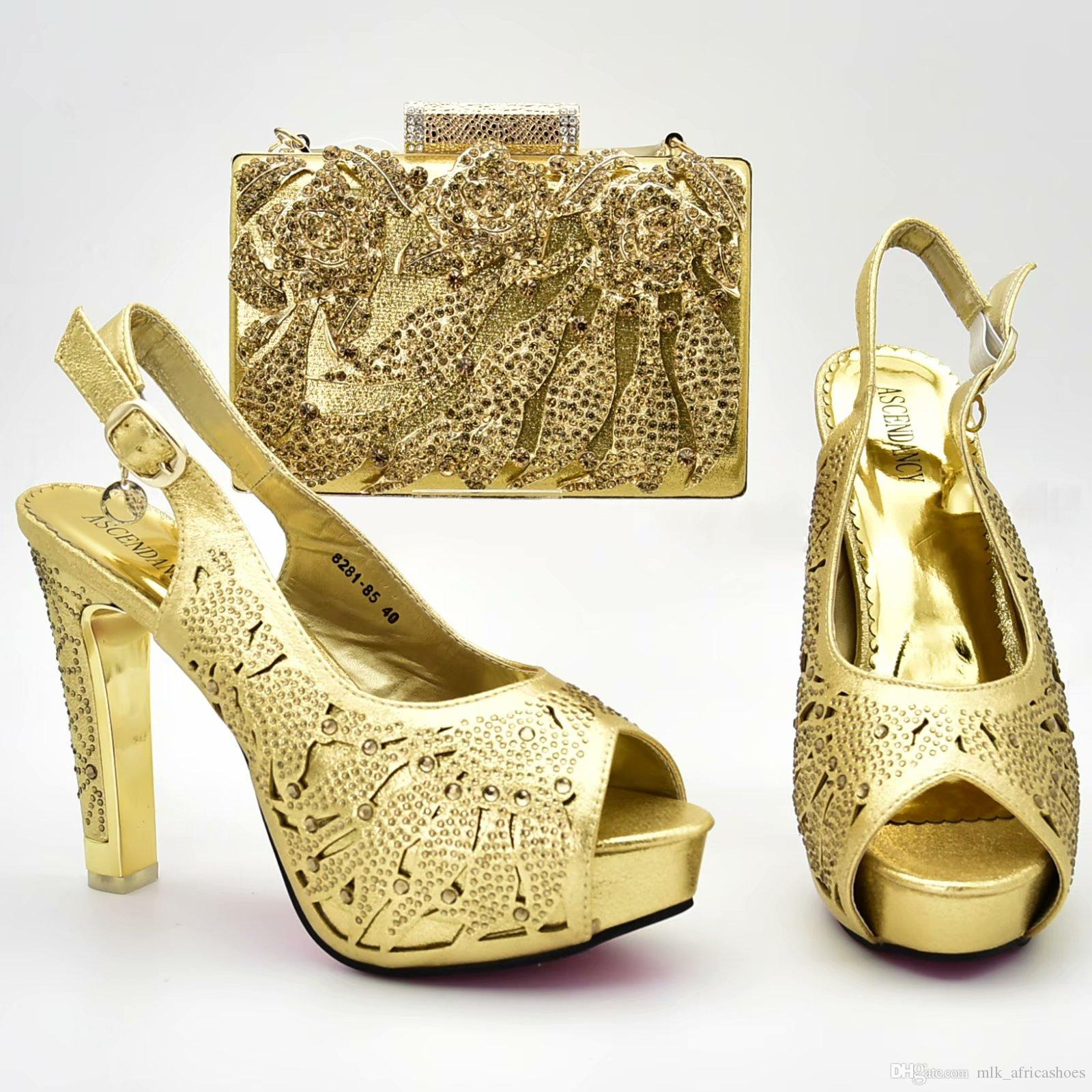 1c30d6bbae Italian Shoes With Matching Bags Women Pumps Gold Color African Party  Nigerian Women Shoe And Bag Set Heels 12cm Boots Shoes White Mountain Shoes  From ...