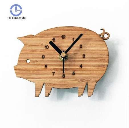 Grosshandel Schwein Kuhlschrank Uhr Natur Bambus Holz Mode Kreative
