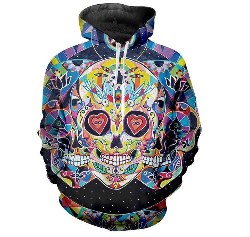 Compre 2018 Moda Mujer   Hombres Skull 3D Imprimir Casual Sudaderas Con Capucha  Sudadera R003 A  23.35 Del Hj272211689  c8eb430e953