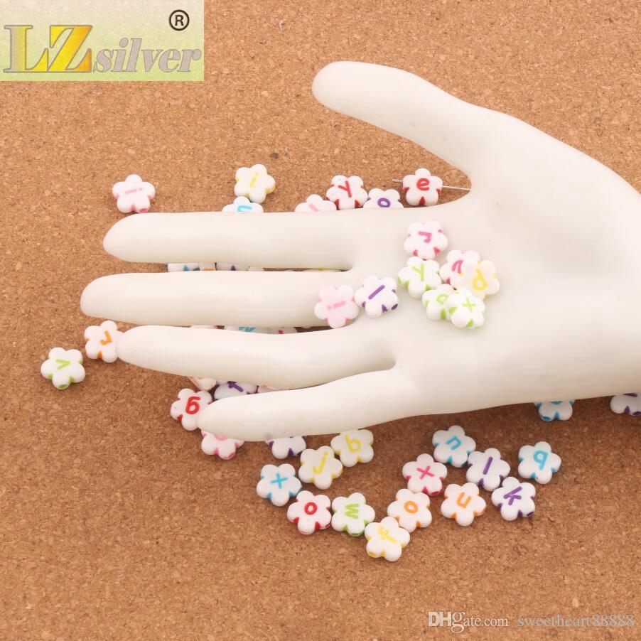 / 11mm Blanc Coloré Alphabet Acrylique Lettre Fleur Perles L3120 Fabrication de Bijoux DIY Perles Lâches