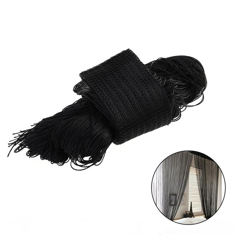 Rod Type Window Door Room Divider Line String Thread Curtain Tassel Valance for Room Doorway Party Decoration (Black)