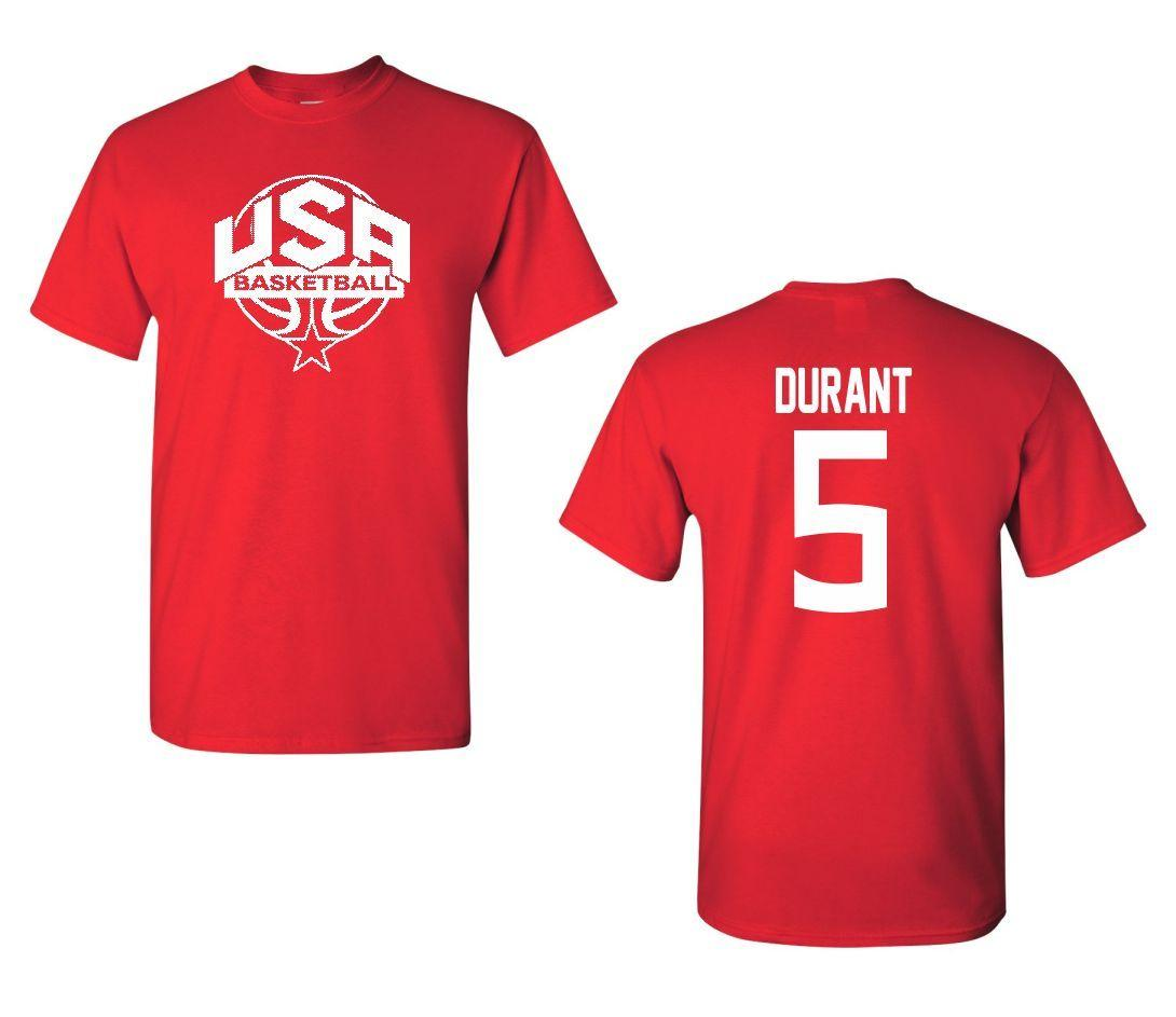 4de61da06514 USA Men S Basketball Kevin Durant  5 Front And Back Men S Tee Shirt 1401  Fun T Shirts Online Shirts From Shirtsthatrock