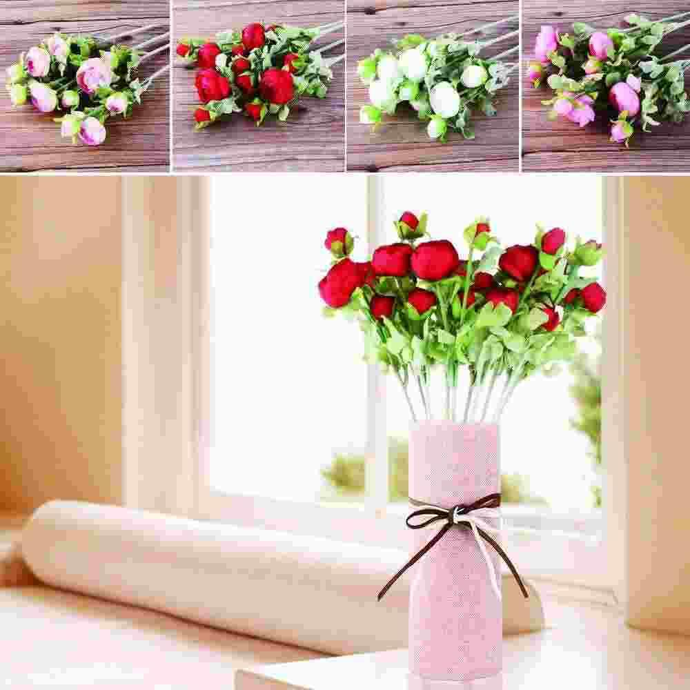 3 Bouque Silk Flower European Artificial Flowers Fall Vivid Peony