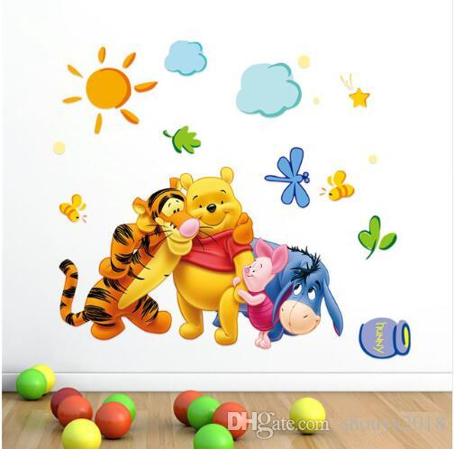 Cartoon Children Room Trees And Bear Pattern Wall Stickers Height Measure For Kids Room Children Nursery Wall Decals Home Deco