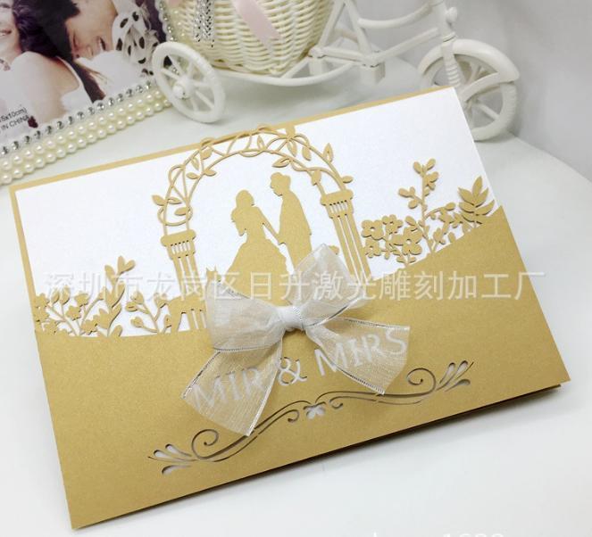 2018 Novos Convites de Casamento Festa de Casamento Do Noivo Convites de Casamento Fita Cortada A Laser Suporte de Impressão Personalizada