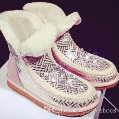 2018 nuove donne inverno strass Stud stivaletti glitter diamante stivaletti bling bling caldo pelliccia stivali da neve signore