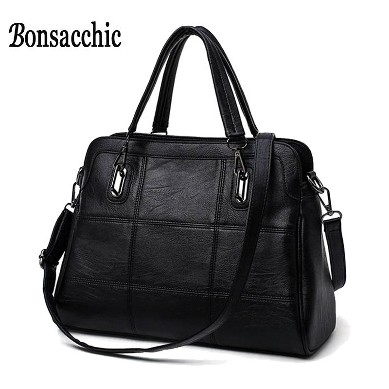 Bonsacchic Fashion Ladies Hand Bag Women  S Genuine Leather Handbag Black  Leather Tote Bag Bolsas Femininas Female Shoulder Bag Side Bags Handbag  Brands ... 0a8927392d2ce