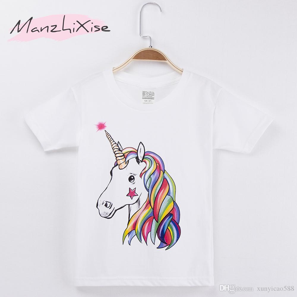 033a70e66 2019 2018 New Fashion Children Clothing GirlsT Shirts Horse Unicorn ...