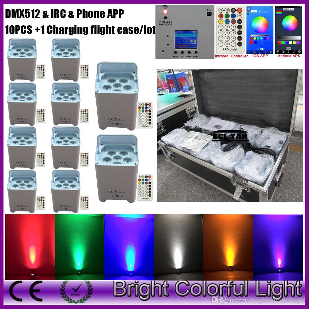 Factory sale wireless dmx 512 led par lights with WIFI app & IRC 6 leds 18W  RGBWAUV smart par can for DJ party 10pcs case