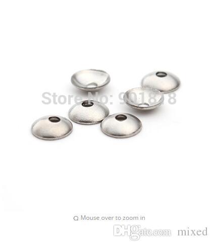 1248a9f873e9 Envío libre de acero inoxidable ronda espaciador perlas tapas finales tapas  50 unids / lote agujero 3/4/5/6 / 8mm diy material de la joyería F2226