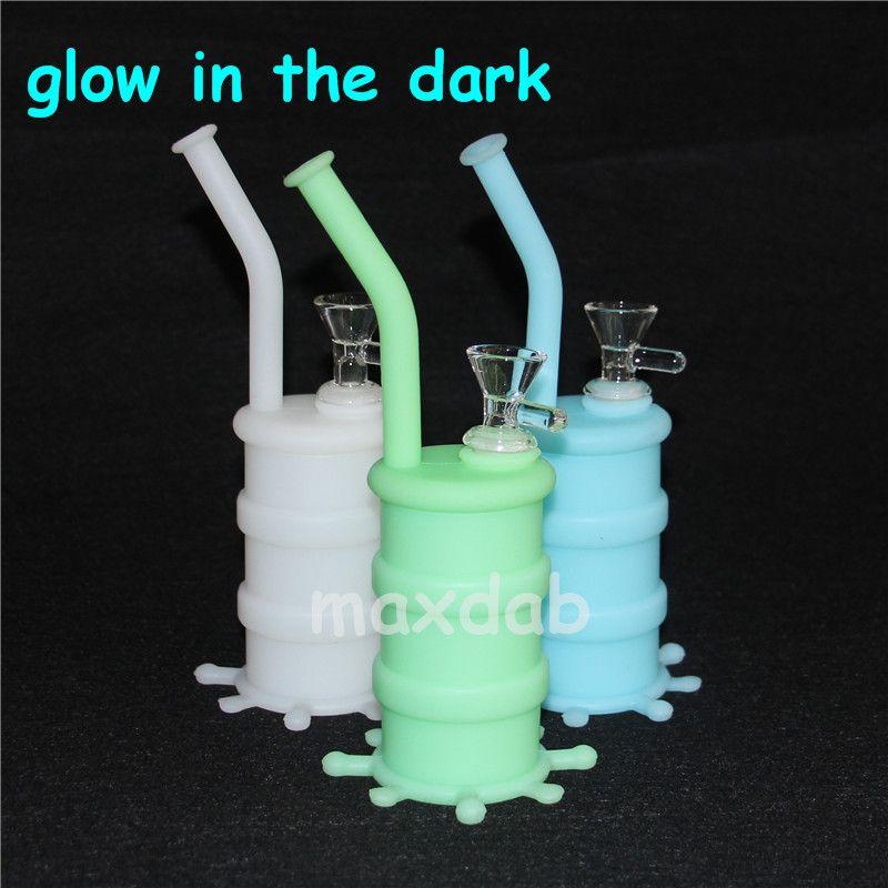 Brilho portátil da tubulação em equipamentos escuros do barril de silicone do cachimbo de água para fumar a erva seca que unbreable água perca o concentrado do óleo do bongo
