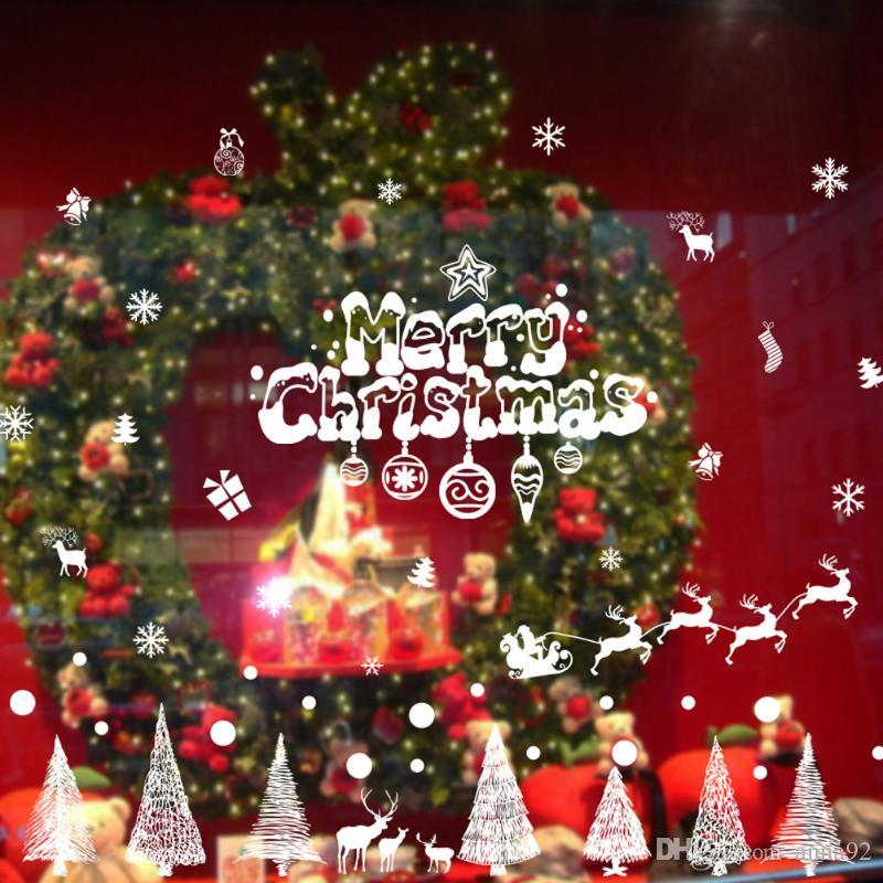 Christmas Decorations For Home Shop Window Snowman Xmas Tree Wall Stickers Christmas Glass Window Stickers New Year Decor free shipping 2018