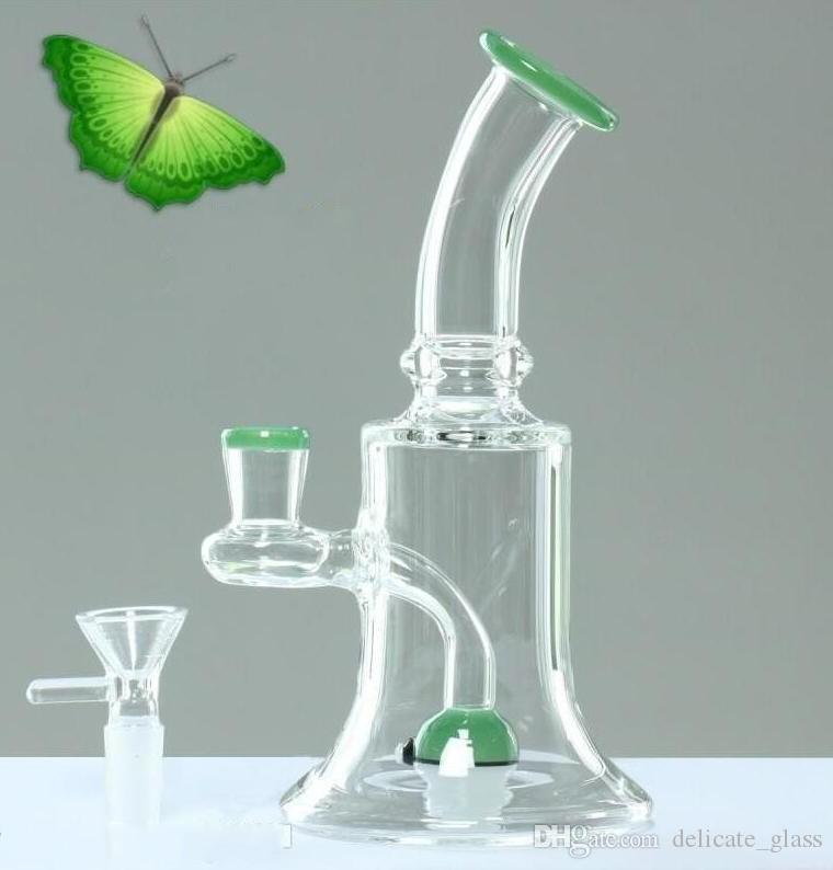 20cm Green Bongs Water Pipes Dab Rig Ball Perc Oil Rigs Glass Bongs Bowl  Joint Size 14 4mm free shipping dab rigs hookahs
