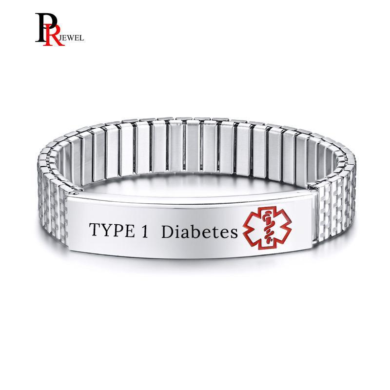 6e417044fb99 Pulseras de identificación de alerta médica para la diabetes de TIPO 1  gratis para hombres de la mujer Personalice el nombre de la enfermedad IEC  Info ...