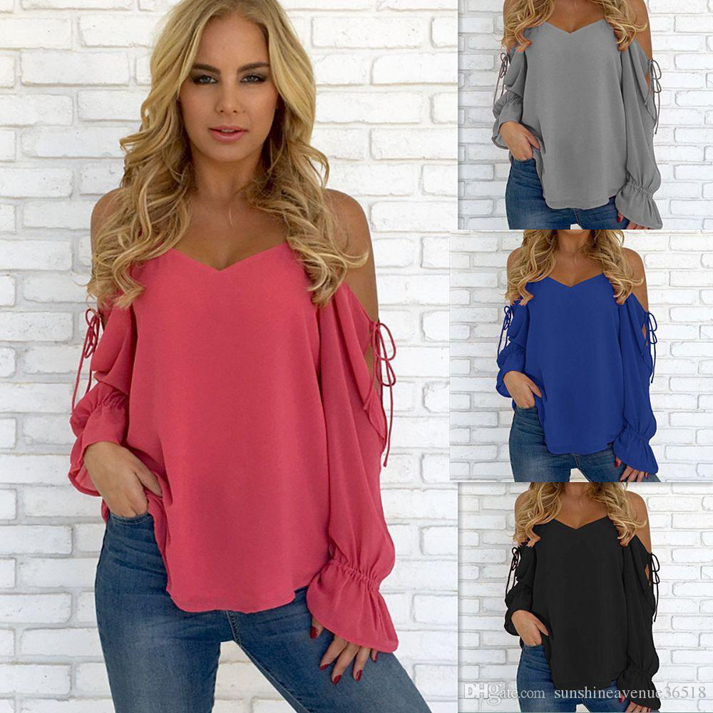 57ed75a22 Womens Solid Color Long Sleeve Open Cold Shoulder Chiffon Pullover T Shirt Ladies  Casual Tops Blouse Ladies T Shirt Jumper Shirt Coolest T Shirts Online Buy  ...